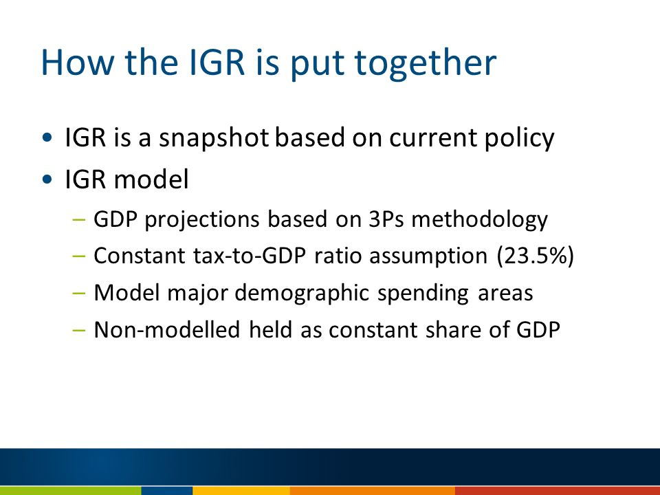 How the IGR is put together IGR is a snapshot based on current policy IGR model –GDP projections based on 3Ps methodology –Constant tax-to-GDP ratio assumption (23.5%) –Model major demographic spending areas –Non-modelled held as constant share of GDP