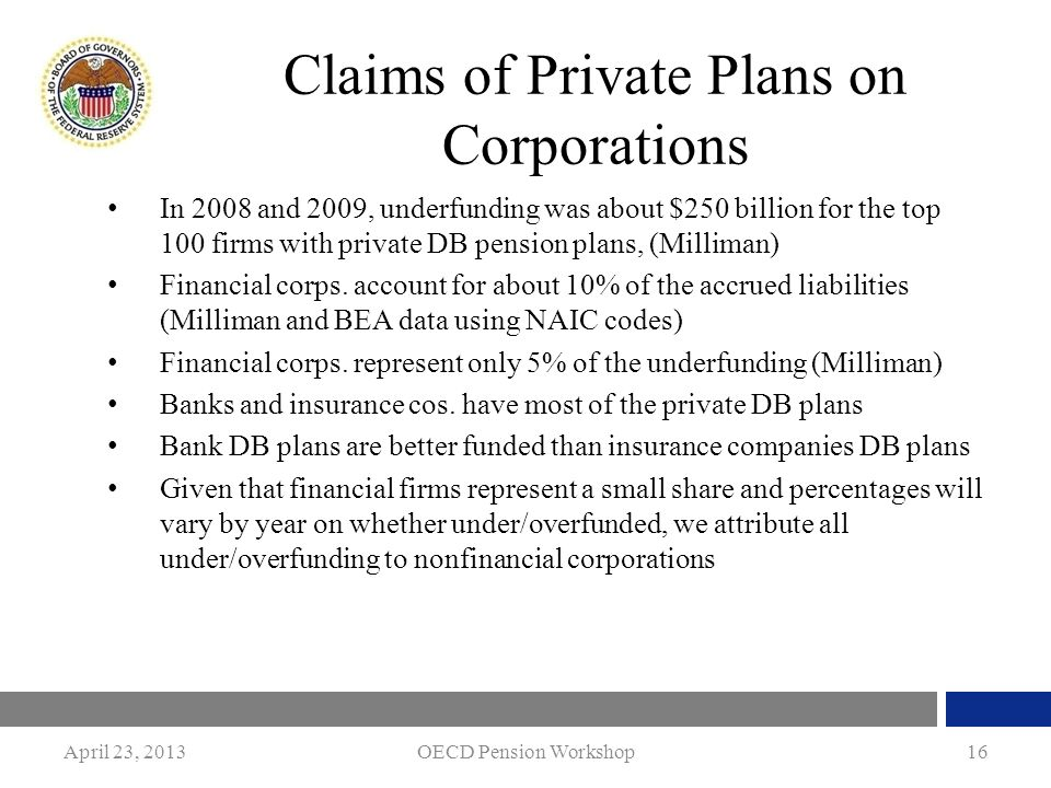 April 23, 2013OECD Pension Workshop16 Claims of Private Plans on Corporations In 2008 and 2009, underfunding was about $250 billion for the top 100 fi