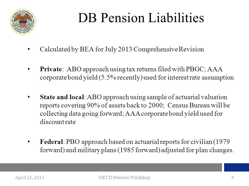 April 23, 2013OECD Pension Workshop9 DB Pension Liabilities Calculated by BEA for July 2013 Comprehensive Revision Private: ABO approach using tax ret