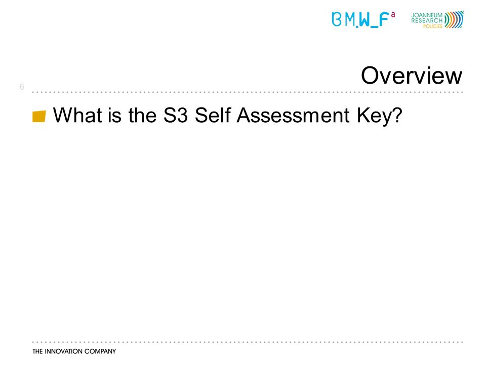 6 Overview What is the S3 Self Assessment Key?