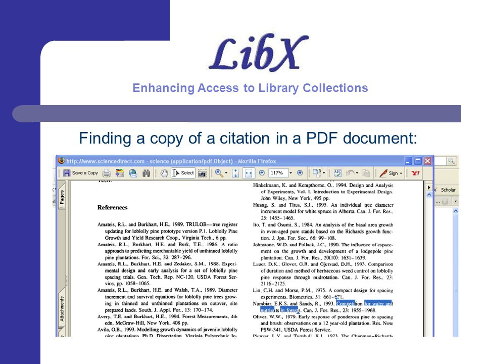 Finding a copy of a citation in a PDF document: