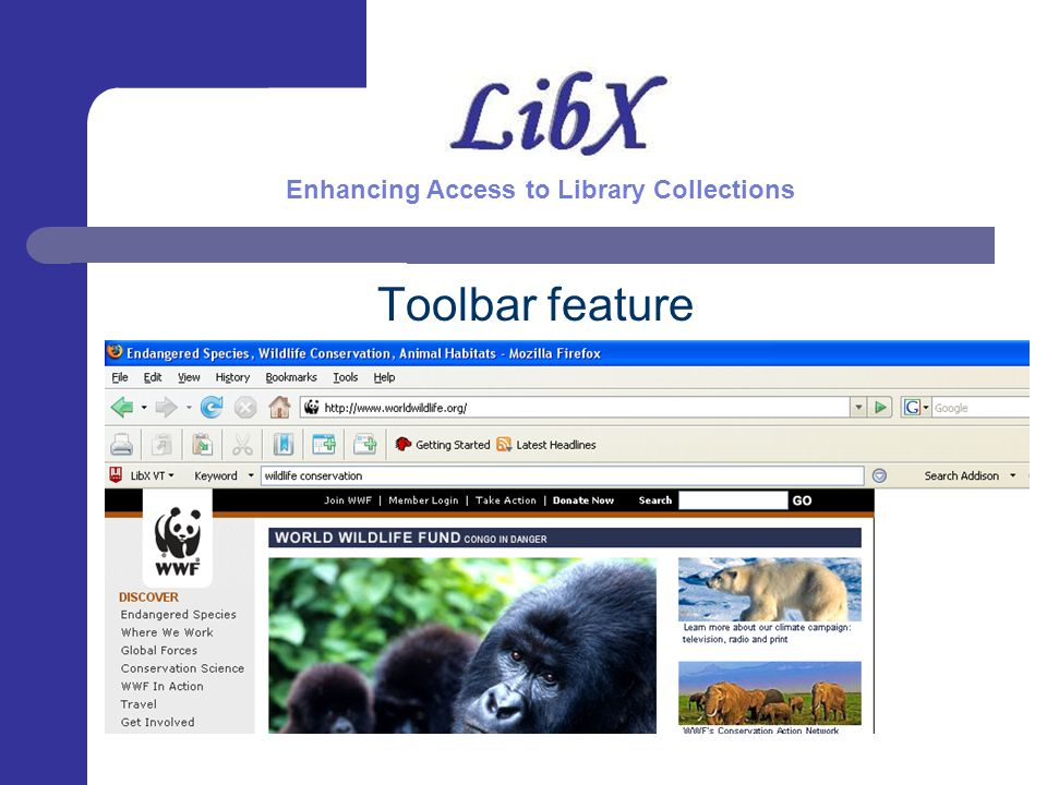 Toolbar feature Enhancing Access to Library Collections