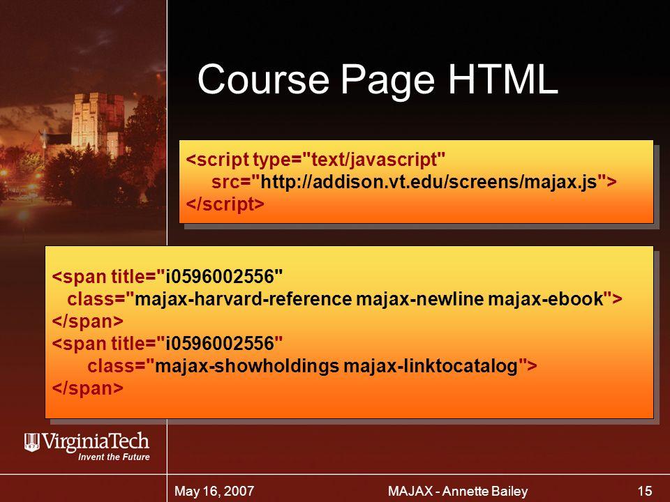 15 MAJAX - Annette BaileyMay 16, 2007 Course Page HTML <script type= text/javascript src= http://addison.vt.edu/screens/majax.js > <script type= text/javascript src= http://addison.vt.edu/screens/majax.js > <span title= i0596002556 class= majax-harvard-reference majax-newline majax-ebook > <span title= i0596002556 class= majax-showholdings majax-linktocatalog > <span title= i0596002556 class= majax-harvard-reference majax-newline majax-ebook > <span title= i0596002556 class= majax-showholdings majax-linktocatalog >