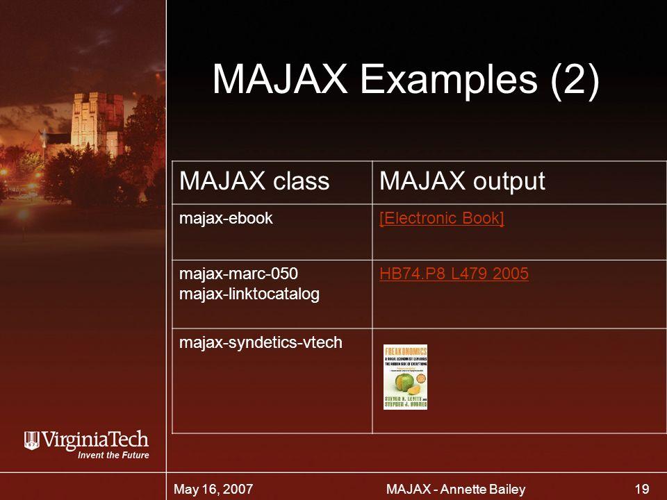 19 MAJAX - Annette BaileyMay 16, 2007 MAJAX Examples (2) MAJAX classMAJAX output majax-ebook[Electronic Book] majax-marc-050 majax-linktocatalog HB74.