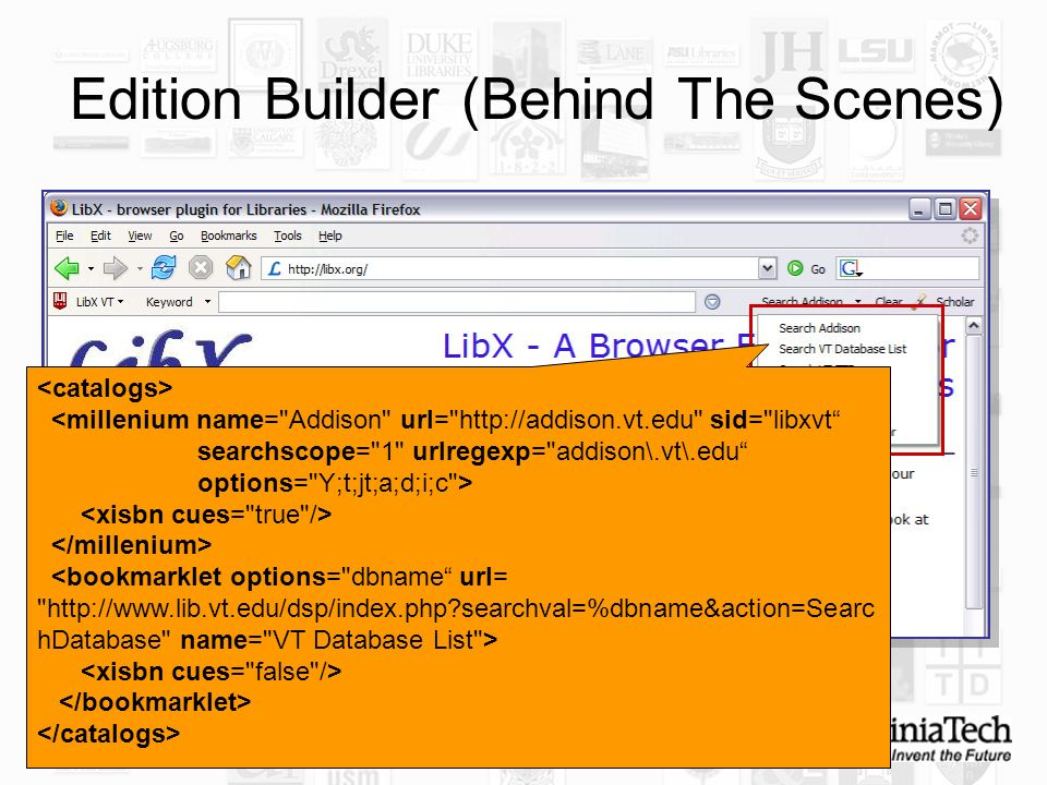 21 Edition Builder (Behind The Scenes) <bookmarklet options= dbname url= http://www.lib.vt.edu/dsp/index.php?searchval=%dbname&action=Searc hDatabase name= VT Database List >