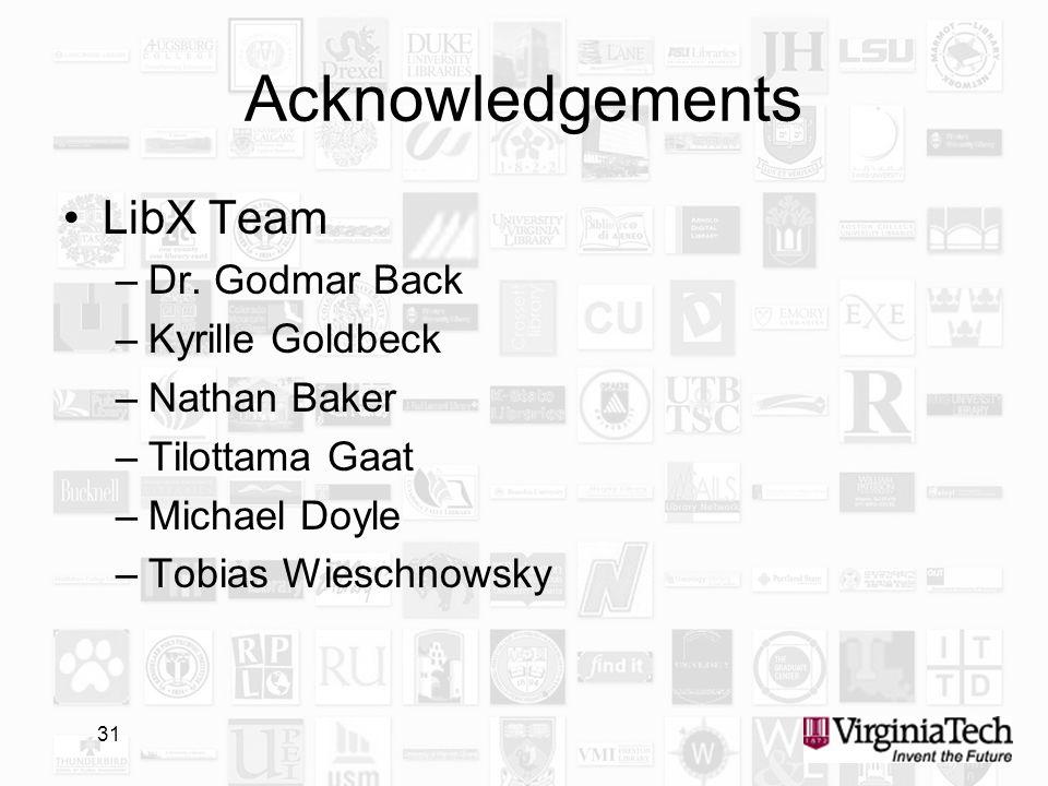 31 Acknowledgements LibX Team –Dr. Godmar Back –Kyrille Goldbeck –Nathan Baker –Tilottama Gaat –Michael Doyle –Tobias Wieschnowsky