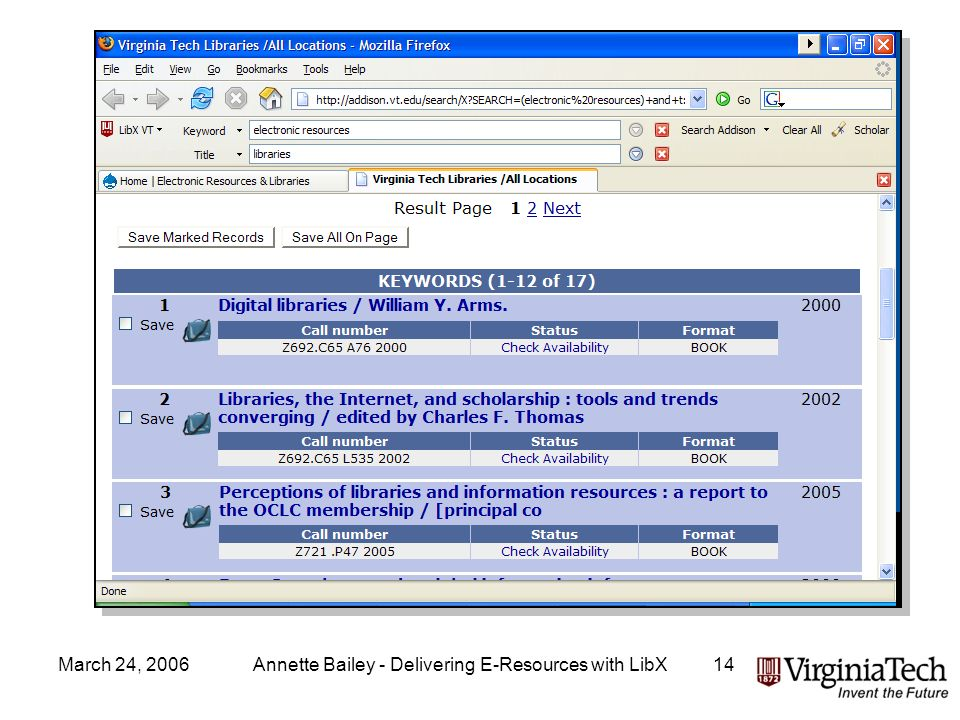 March 24, 2006Annette Bailey - Delivering E-Resources with LibX14 OPAC Toolbar Results