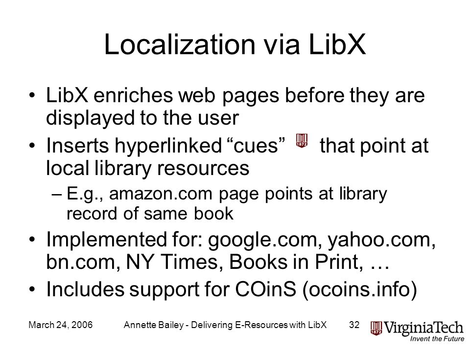 March 24, 2006Annette Bailey - Delivering E-Resources with LibX32 Localization via LibX LibX enriches web pages before they are displayed to the user