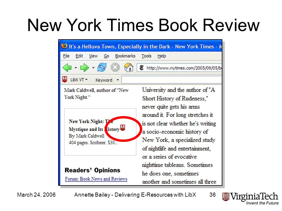 March 24, 2006Annette Bailey - Delivering E-Resources with LibX36 New York Times Book Review