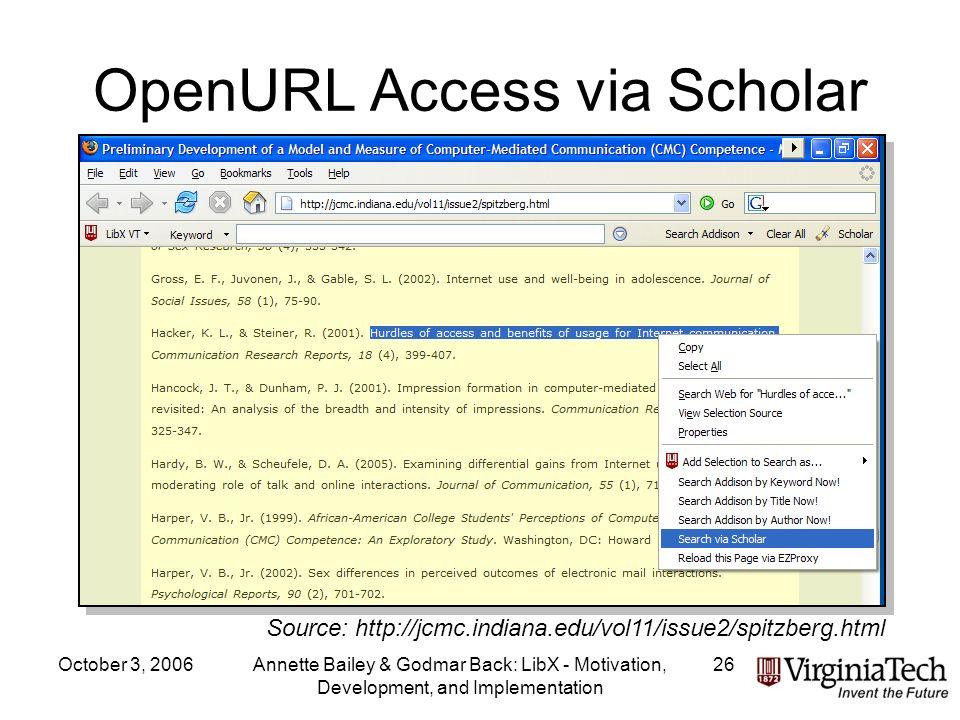 October 3, 2006Annette Bailey & Godmar Back: LibX - Motivation, Development, and Implementation 26 OpenURL Access via Scholar Source: http://jcmc.indiana.edu/vol11/issue2/spitzberg.html