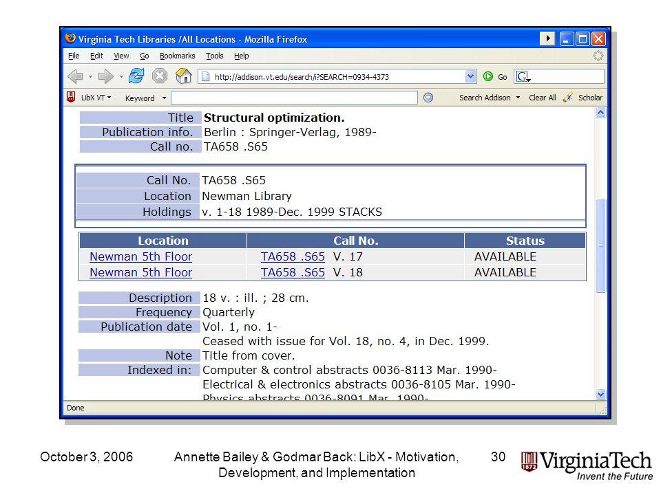 October 3, 2006Annette Bailey & Godmar Back: LibX - Motivation, Development, and Implementation 30