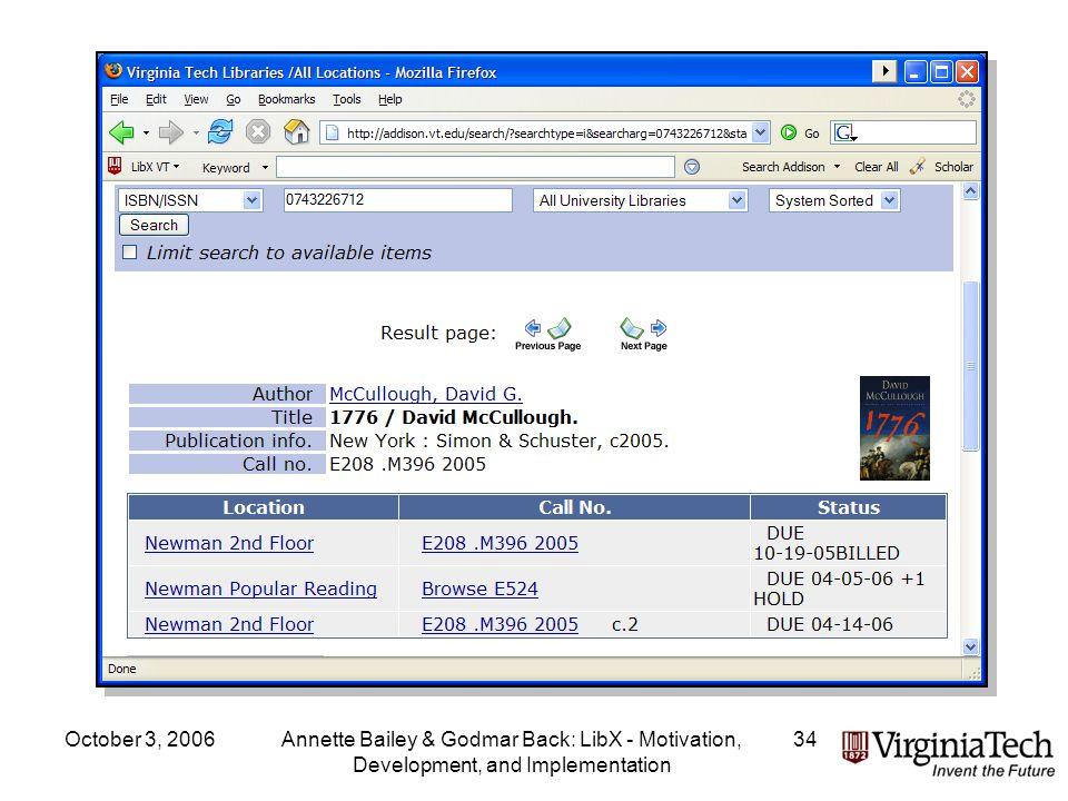 October 3, 2006Annette Bailey & Godmar Back: LibX - Motivation, Development, and Implementation 34