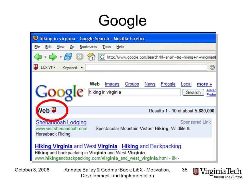 October 3, 2006Annette Bailey & Godmar Back: LibX - Motivation, Development, and Implementation 35 Google