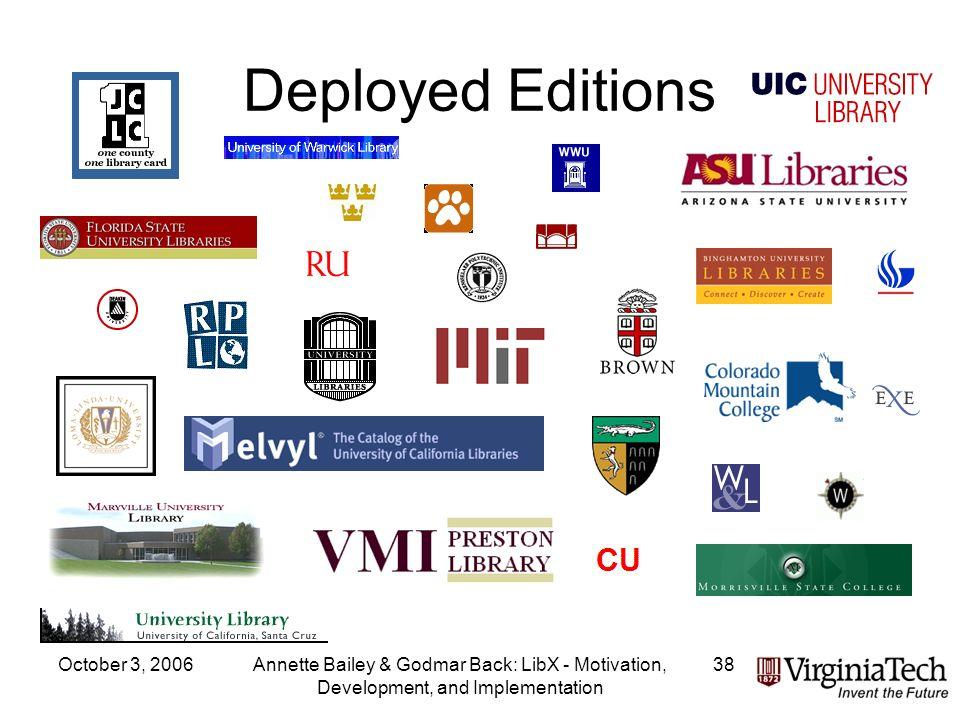 October 3, 2006Annette Bailey & Godmar Back: LibX - Motivation, Development, and Implementation 38 Deployed Editions