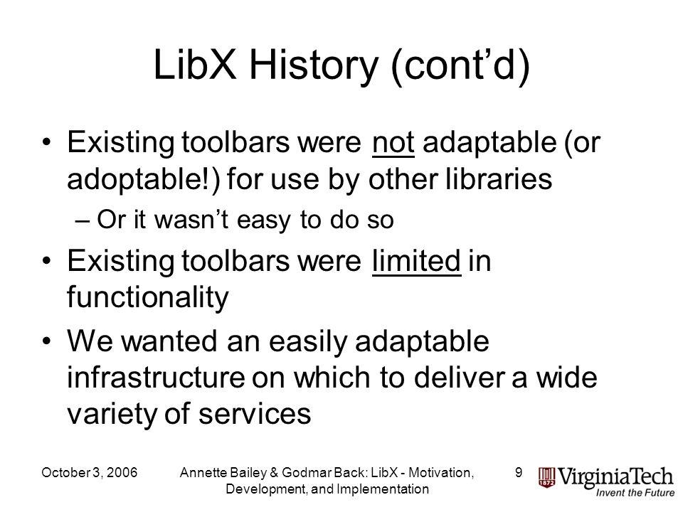 October 3, 2006Annette Bailey & Godmar Back: LibX - Motivation, Development, and Implementation 20 Adaptive Context Menu