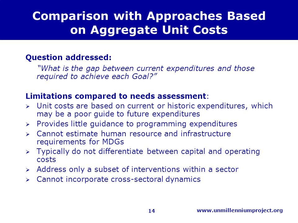 14 www.unmillenniumproject.org Comparison with Approaches Based on Aggregate Unit Costs Question addressed: What is the gap between current expenditures and those required to achieve each Goal.
