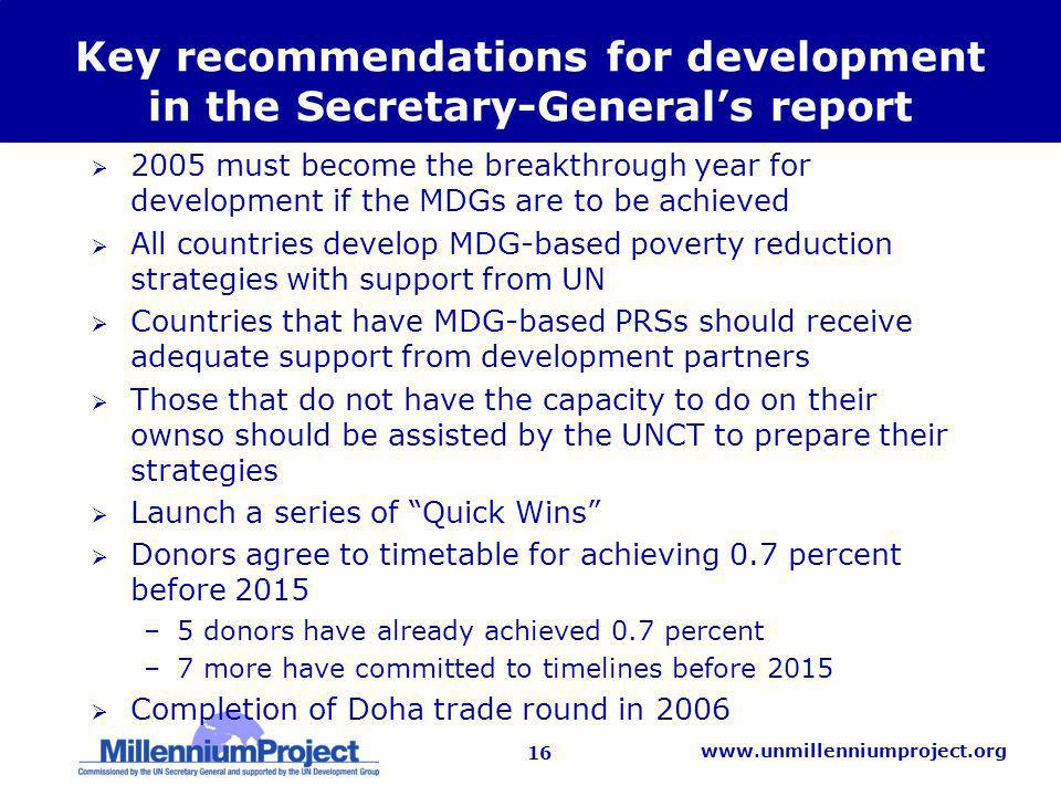 16   Key recommendations for development in the Secretary-Generals report 2005 must become the breakthrough year for development if the MDGs are to be achieved All countries develop MDG-based poverty reduction strategies with support from UN Countries that have MDG-based PRSs should receive adequate support from development partners Those that do not have the capacity to do on their ownso should be assisted by the UNCT to prepare their strategies Launch a series of Quick Wins Donors agree to timetable for achieving 0.7 percent before 2015 –5 donors have already achieved 0.7 percent –7 more have committed to timelines before 2015 Completion of Doha trade round in 2006