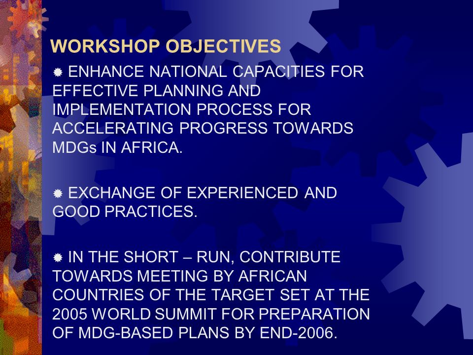 WORKSHOP OBJECTIVES ENHANCE NATIONAL CAPACITIES FOR EFFECTIVE PLANNING AND IMPLEMENTATION PROCESS FOR ACCELERATING PROGRESS TOWARDS MDGs IN AFRICA.