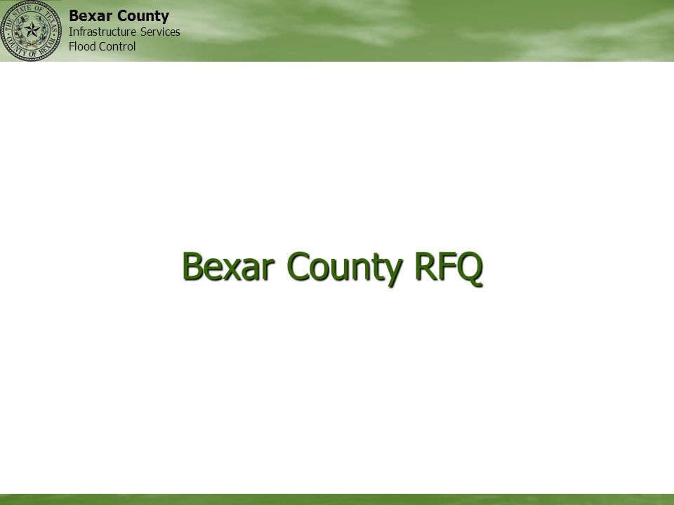 Bexar County Infrastructure Services Flood Control Bexar County RFQ