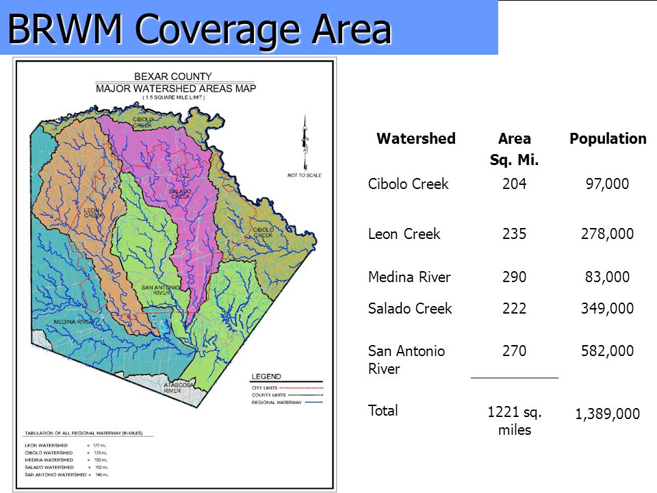 Bexar Regional Watershed Management Program BRWM Coverage Area WatershedArea Sq. Mi. Population Cibolo Creek 20497,000 Leon Creek 235278,000 Medina Ri