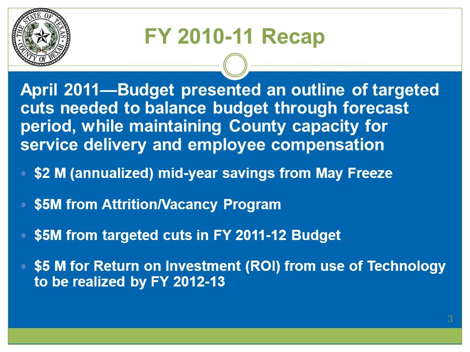 FY Recap April 2011Budget presented an outline of targeted cuts needed to balance budget through forecast period, while maintaining County capacity for service delivery and employee compensation $2 M (annualized) mid-year savings from May Freeze $5M from Attrition/Vacancy Program $5M from targeted cuts in FY Budget $5 M for Return on Investment (ROI) from use of Technology to be realized by FY