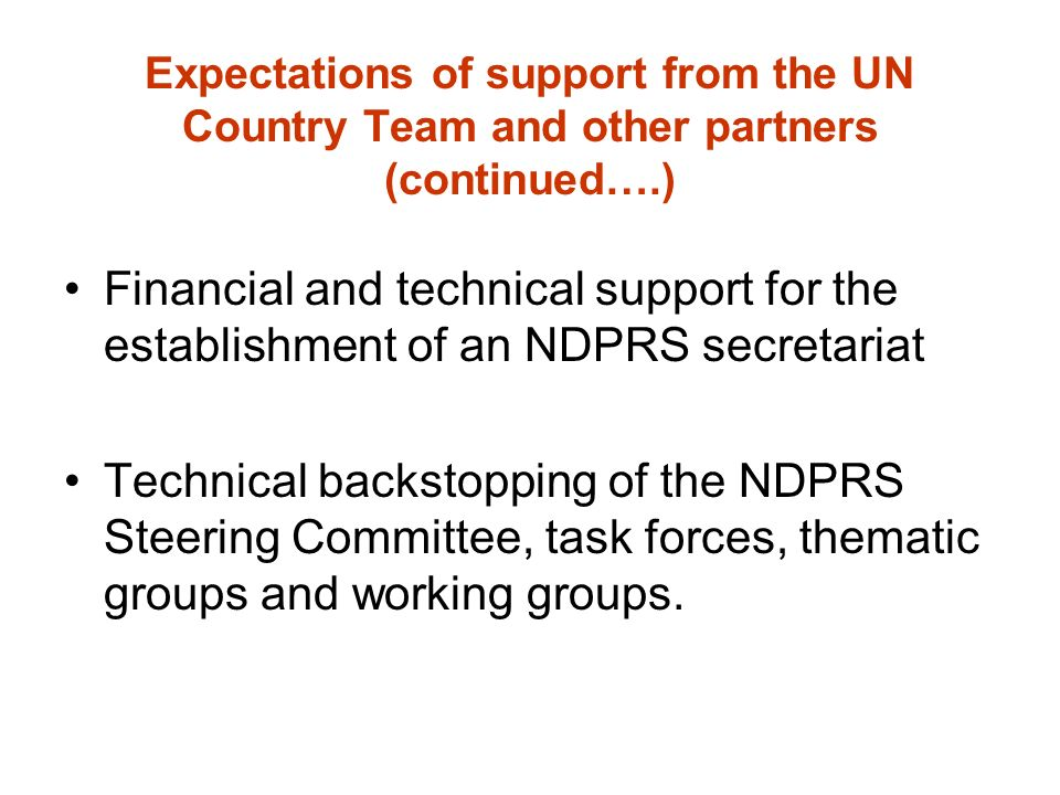 Expectations of support from the UN Country Team and other partners (continued….) Financial and technical support for the establishment of an NDPRS secretariat Technical backstopping of the NDPRS Steering Committee, task forces, thematic groups and working groups.