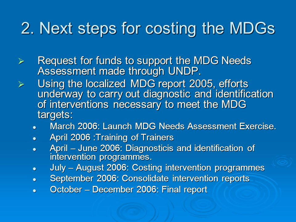 2. Next steps for costing the MDGs Request for funds to support the MDG Needs Assessment made through UNDP. Request for funds to support the MDG Needs