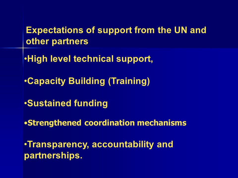 Expectations of support from the UN and other partners High level technical support, Capacity Building (Training) Sustained funding Strengthened coordination mechanisms Transparency, accountability and partnerships.