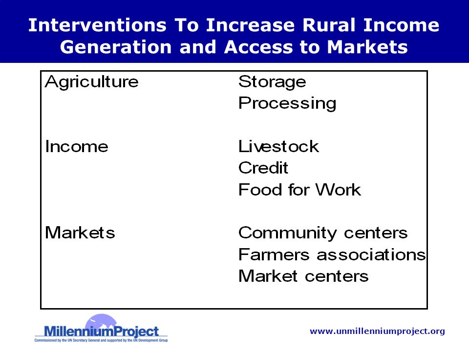 www.unmillenniumproject.org Interventions To Increase Rural Income Generation and Access to Markets