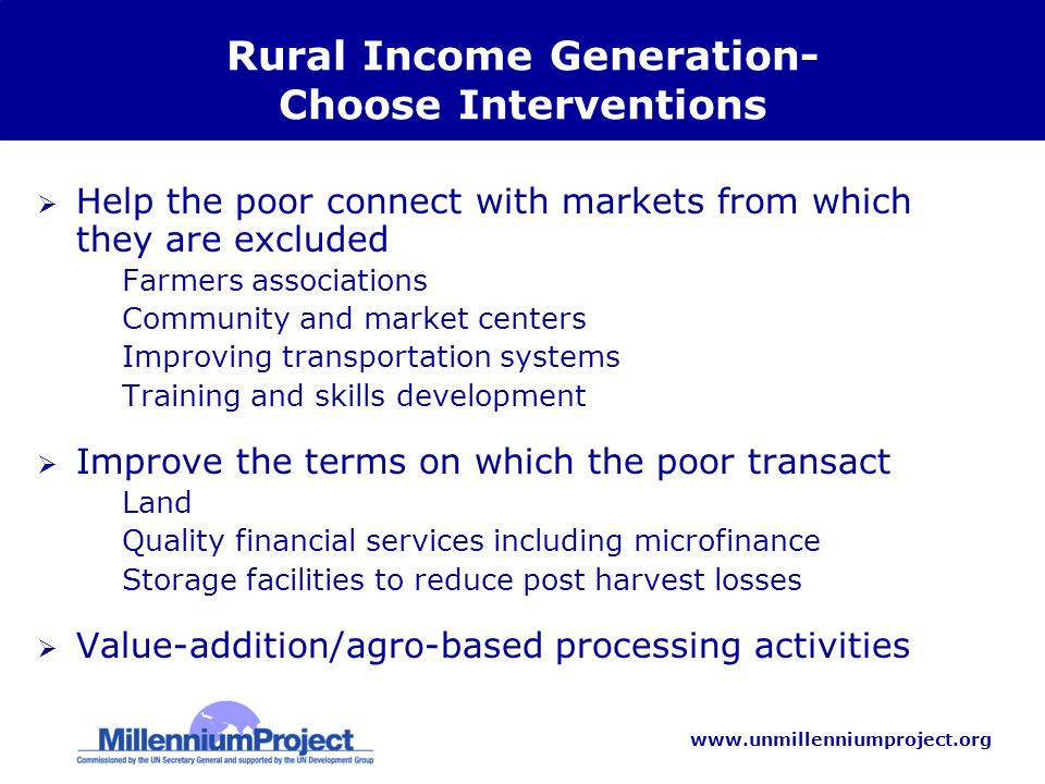 www.unmillenniumproject.org Rural Income Generation- Choose Interventions Help the poor connect with markets from which they are excluded –Farmers associations –Community and market centers –Improving transportation systems –Training and skills development Improve the terms on which the poor transact –Land –Quality financial services including microfinance –Storage facilities to reduce post harvest losses Value-addition/agro-based processing activities