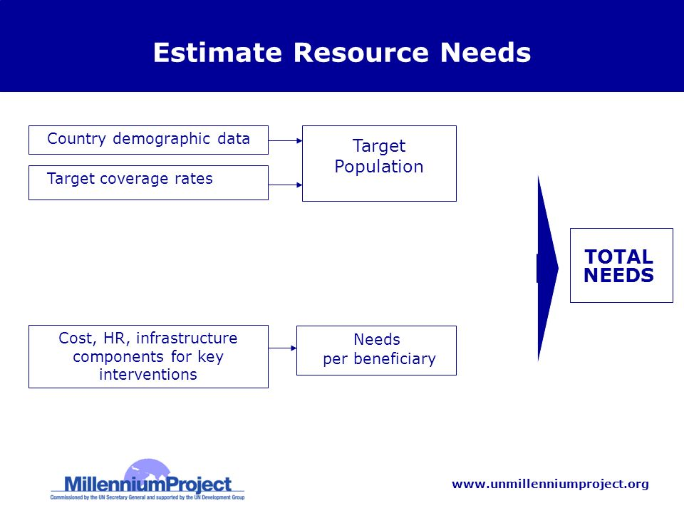 www.unmillenniumproject.org Estimate Resource Needs Country demographic data Needs per beneficiary TOTAL NEEDS Target Population Target coverage rates Cost, HR, infrastructure components for key interventions