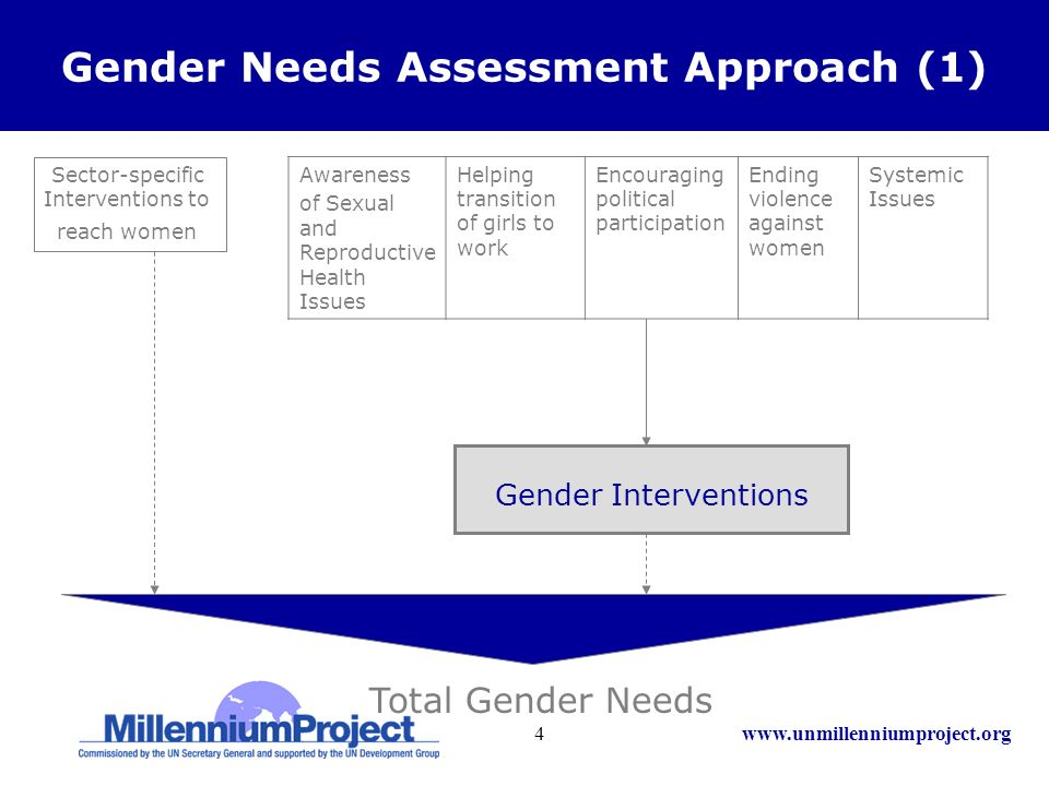 www.unmillenniumproject.org4 Gender Needs Assessment Approach (1) Sector-specific Interventions to reach women Total Gender Needs Gender Interventions Awareness of Sexual and Reproductive Health Issues Helping transition of girls to work Encouraging political participation Ending violence against women Systemic Issues