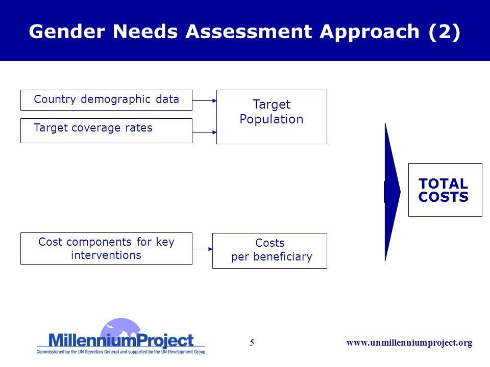 www.unmillenniumproject.org5 Gender Needs Assessment Approach (2) Country demographic data Costs per beneficiary TOTAL COSTS Target Population Target coverage rates Cost components for key interventions