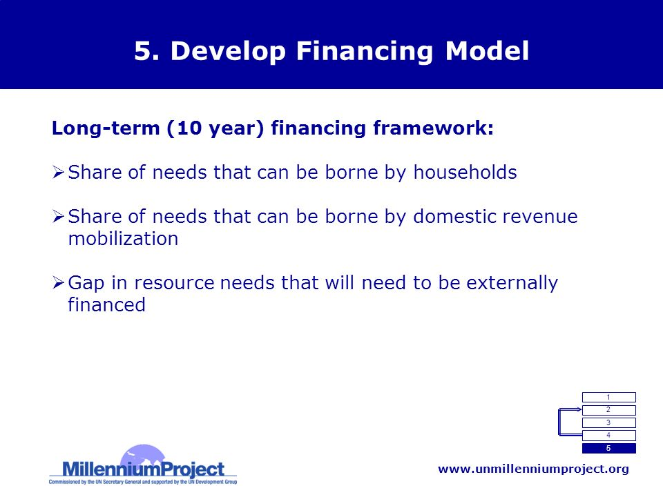 www.unmillenniumproject.org 5. Develop Financing Model Long-term (10 year) financing framework: Share of needs that can be borne by households Share o