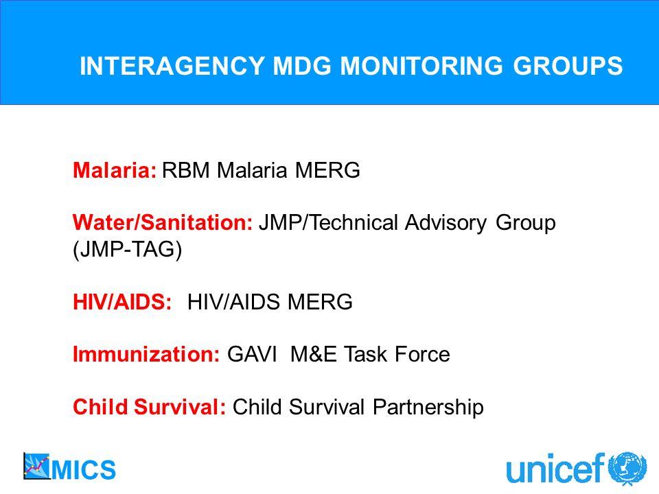 Malaria: RBM Malaria MERG Water/Sanitation: JMP/Technical Advisory Group (JMP-TAG) HIV/AIDS: HIV/AIDS MERG Immunization: GAVI M&E Task Force Child Survival: Child Survival Partnership INTERAGENCY MDG MONITORING GROUPS