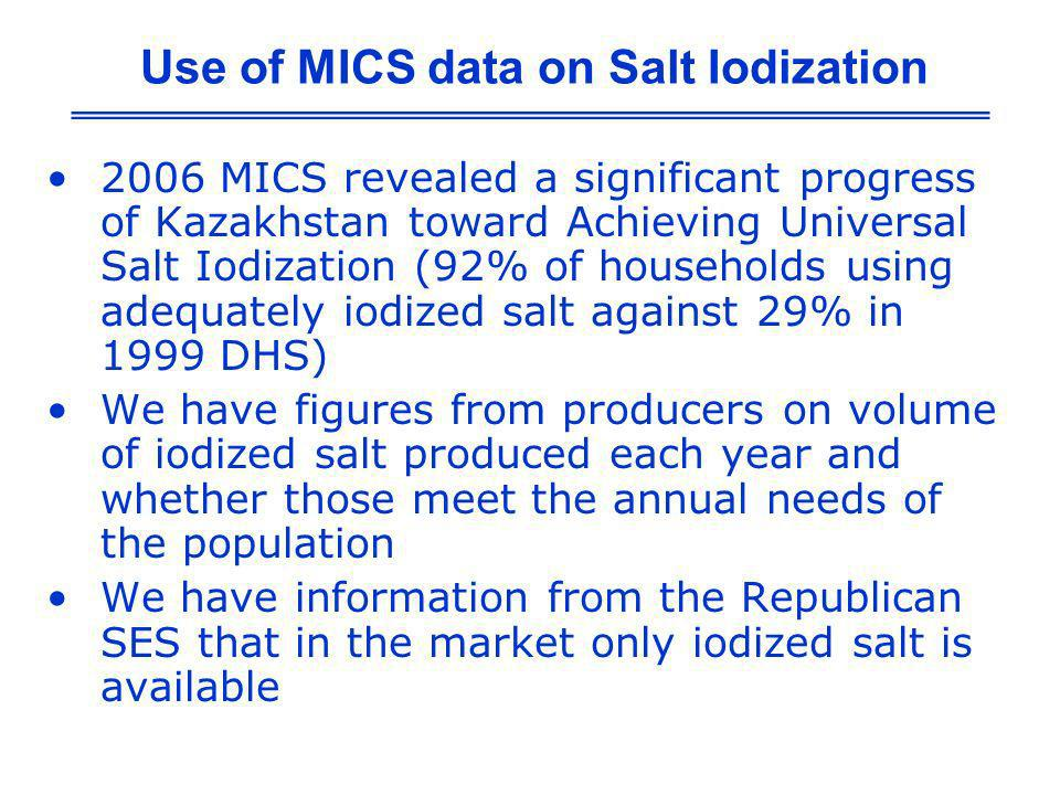 2006 MICS revealed a significant progress of Kazakhstan toward Achieving Universal Salt Iodization (92% of households using adequately iodized salt ag