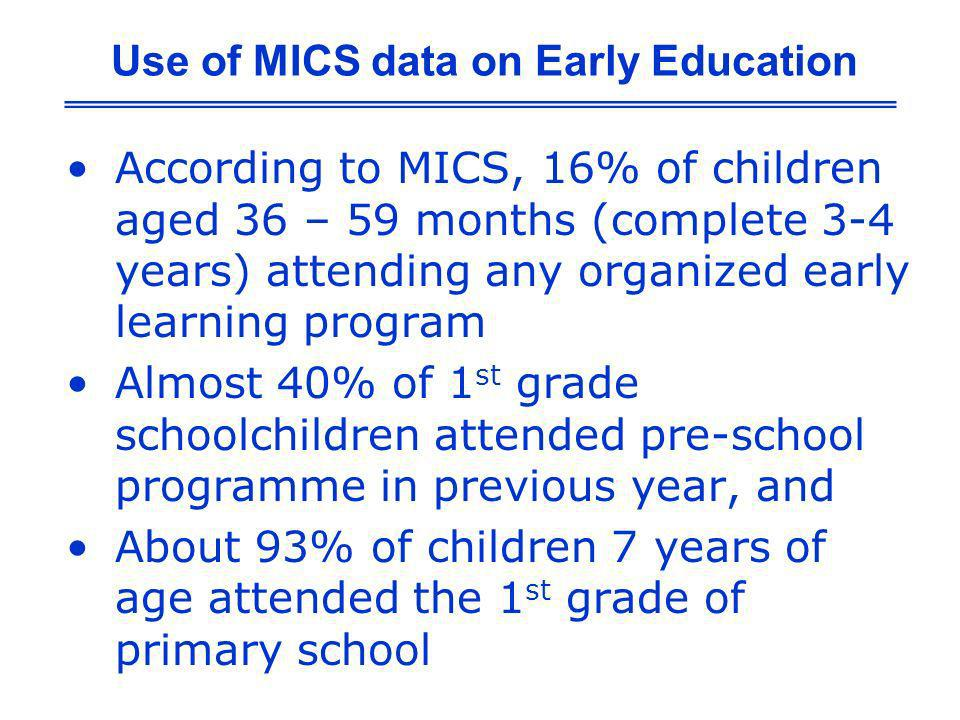 According to MICS, 16% of children aged 36 – 59 months (complete 3-4 years) attending any organized early learning program Almost 40% of 1 st grade sc