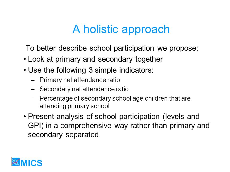 A holistic approach To better describe school participation we propose: Look at primary and secondary together Use the following 3 simple indicators: