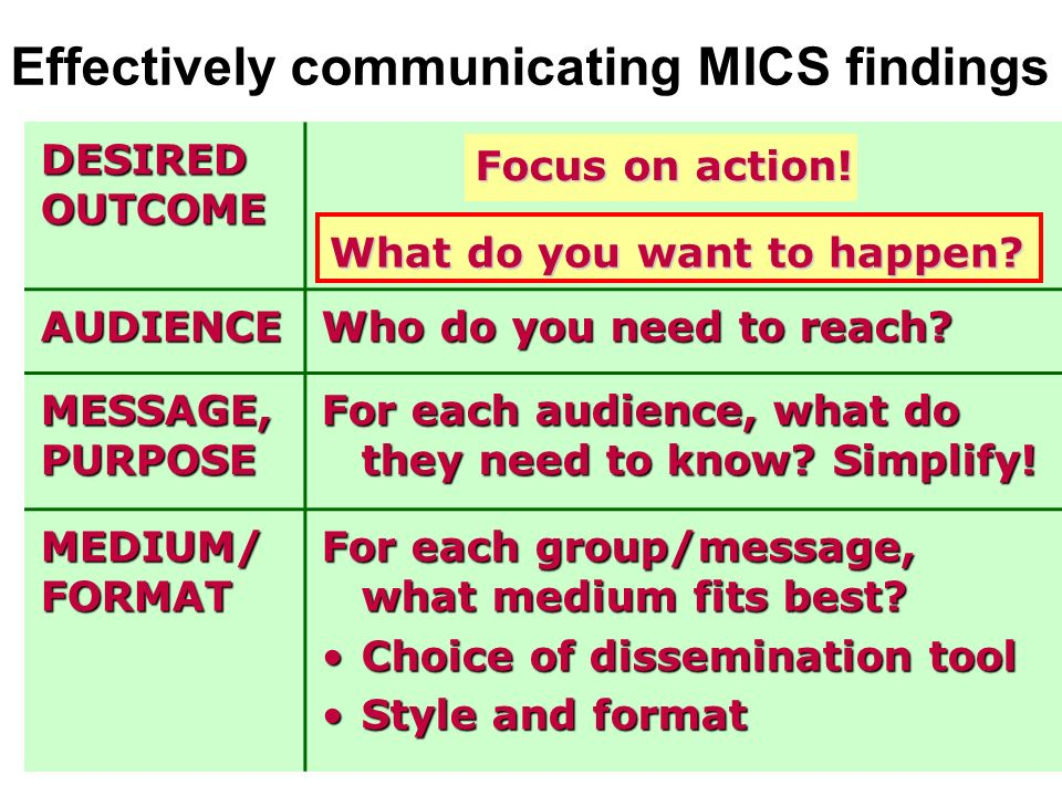 Encourage use of MICS3 findings into reports for MDGs, PRSPs and others Universities and Research centers –results and datasets accessible through CD/web –stimulate them to use MICS data (Competition/ award on best proposal for additional analysis) Journalists Members of Parliament, religious and/or traditional leaders, goodwill ambassadors, artists, business people, sports stars, etc.