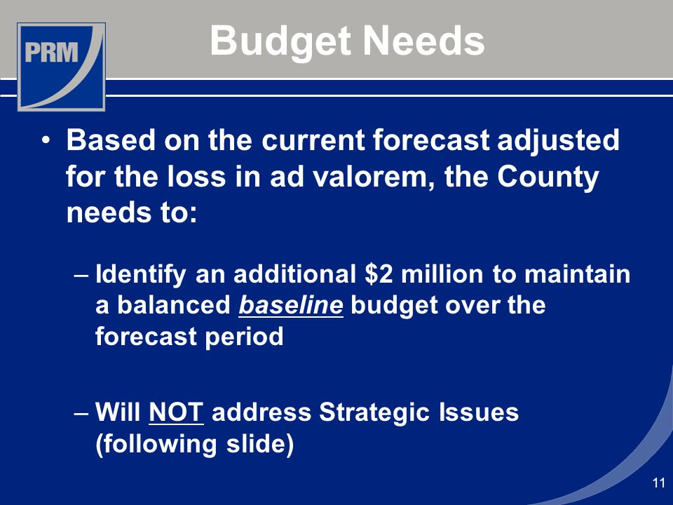 Budget Needs Based on the current forecast adjusted for the loss in ad valorem, the County needs to: –Identify an additional $2 million to maintain a
