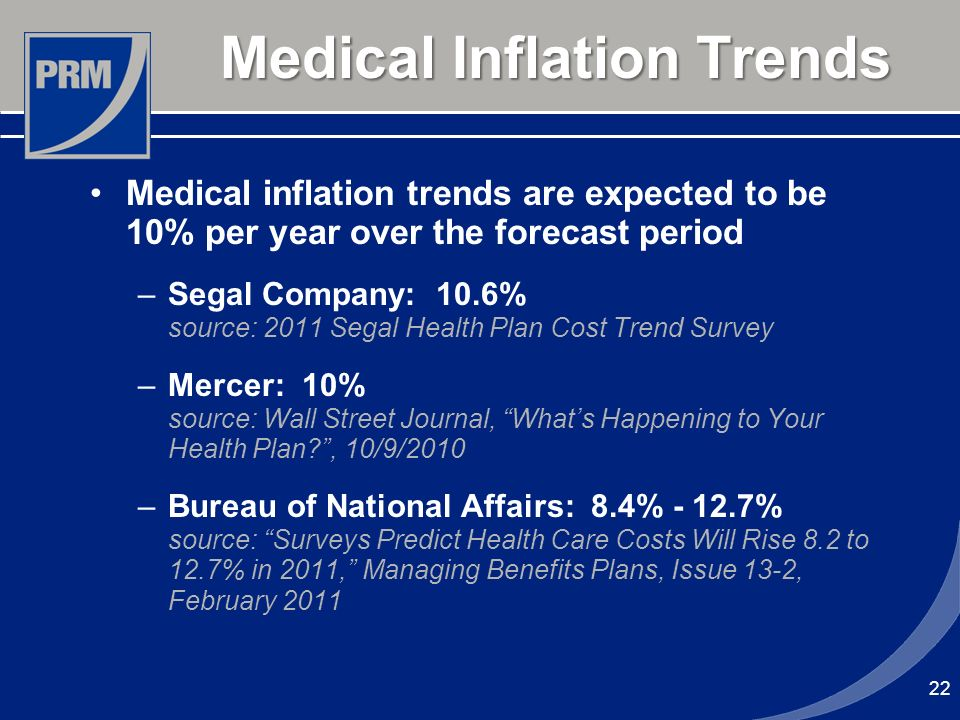 Medical Inflation Trends Medical inflation trends are expected to be 10% per year over the forecast period –Segal Company: 10.6% source: 2011 Segal He