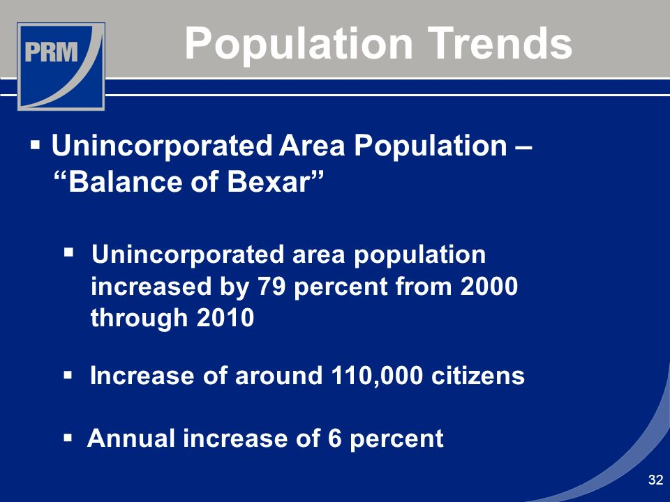 32 Population Trends Unincorporated Area Population – Balance of Bexar Unincorporated area population increased by 79 percent from 2000 through 2010 I