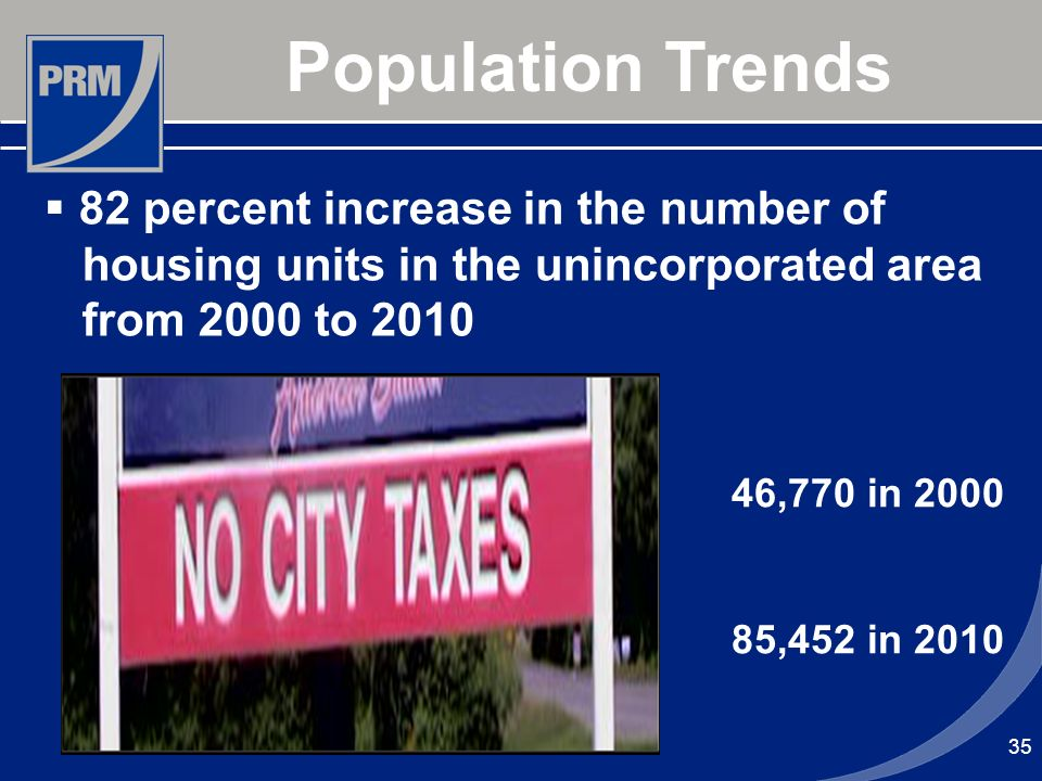 35 Population Trends 82 percent increase in the number of housing units in the unincorporated area from 2000 to 2010 46,770 in 2000 85,452 in 2010