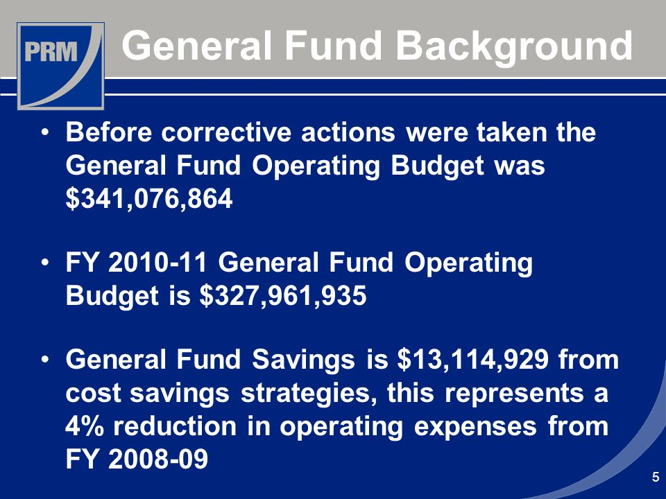 General Fund Background Before corrective actions were taken the General Fund Operating Budget was $341,076,864 FY 2010-11 General Fund Operating Budg