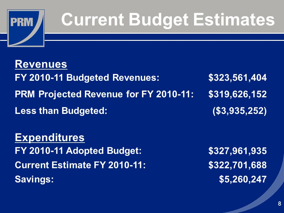 8 Current Budget Estimates Revenues FY 2010-11 Budgeted Revenues: $323,561,404 PRM Projected Revenue for FY 2010-11: $319,626,152 Less than Budgeted: