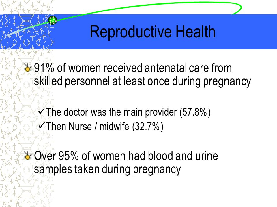 Reproductive Health 91% of women received antenatal care from skilled personnel at least once during pregnancy The doctor was the main provider (57.8%