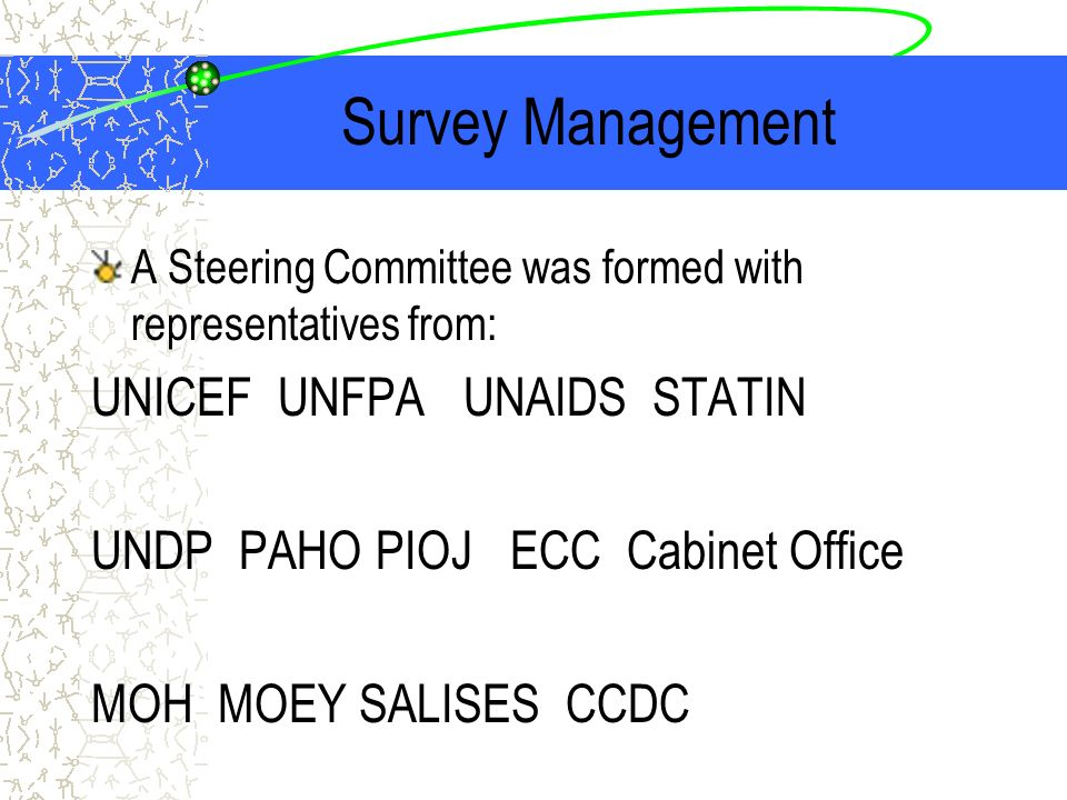 Survey Management A Steering Committee was formed with representatives from: UNICEF UNFPA UNAIDS STATIN UNDP PAHO PIOJ ECC Cabinet Office MOH MOEY SALISES CCDC