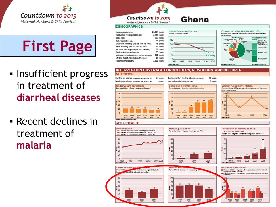 Insufficient progress in treatment of diarrheal diseases Recent declines in treatment of malaria