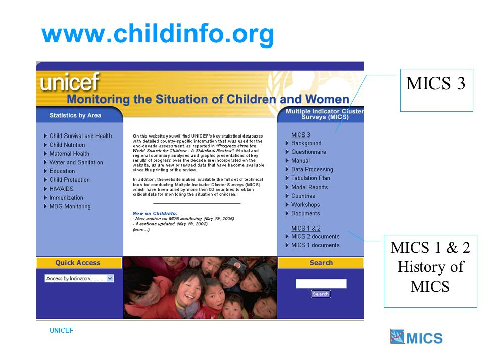 UNICEF MICS3 on www.childinfo.org Background Questionnaires Manual Data Processing Tabulation Plan Model Reports Countries Workshops Documents