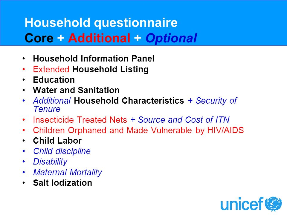 Womens questionnaire Core Womens Information Panel Child Mortality Tetanus Toxoid Maternal and Newborn Health Marriage/Union Contraception HIV/AIDS